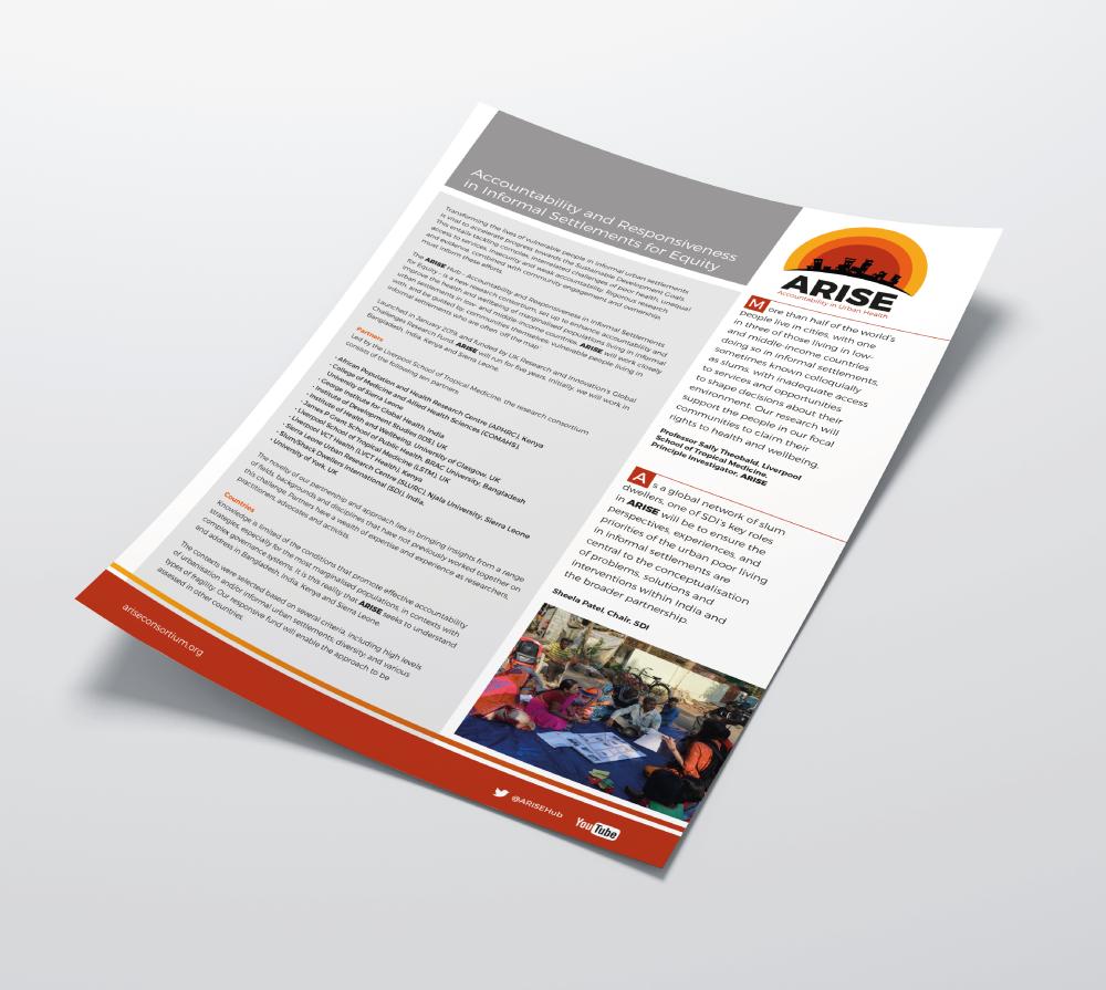 Marketing leaflet for Arise