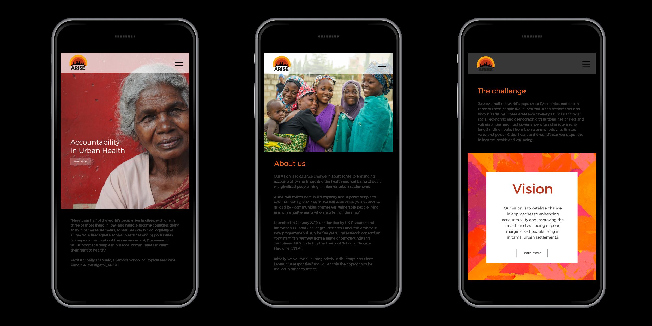 Responsive website design for Arise