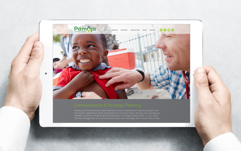 Homepage website design for Pamoja Communications